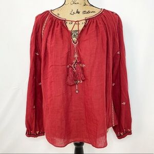 Isabel Marant Red Embroidered Peasant Blouse